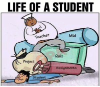 Life of a student..: LIFE OF A STUDENT  Teacher  Mid  Quiz  Project  Assignments  Student Life of a student..