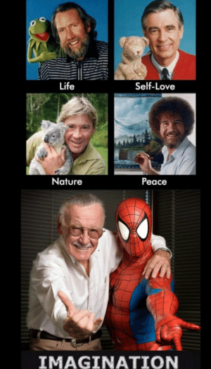 Life, Love, and Stan: Life  Self-Love  Nature  Peace  IMAGINATION awesomacious:  The five horsemen of wholesomeness (RIP Stan the man)