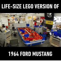Lego, Memes, and Florida: LIFE-SIZE LEGO VERSION OF  1964 FORD MUSTANG How do I get a job as a Lego mechanical engineer? Amazing work by LEGOLAND Florida #onedip