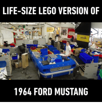 Dank, Lego, and Florida: LIFE-SIZE LEGO VERSION OF  1964 FORD MUSTANG I want to see the crash test and lego bricks go flying! (By LEGOLAND Florida)