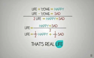 Life, Happy, and Sad: LIFE +tOVE HAPPY  2 LIFE = HAPPY+ SAD  HAPPY+SAD  LIFE-tOVE = SAD  LIFE =  LIFE HAPPY + SAD  THATS REAL LIFE