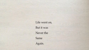 Life, Never, and Went: Life went on,  But it was  Never the  Same  Again.