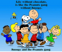 How true is this?  <3: Life without chocolate.  is like the Peanuts sans  without Snoopy.  Snoopy and the Peanuts sans How true is this?  <3