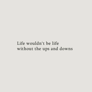 Life Without: Life wouldnt be life  without the ups and downs