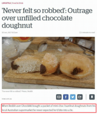 memecage:  The Crime of the Century  appalling : LIFESTYLE Food & Drink  Never felt so robbed': Outrage  over unfilled chocolate  doughnut  28 Jun, 2017 8:52am  O2 minutes to read  I've never felt so robbed. Photo/ Reddit  When Reddit user Ghos5880 bought a packet of mini choc-hazelnut doughnuts from his  local Australian supermarket he never expected he'd bite into a lie. memecage:  The Crime of the Century  appalling