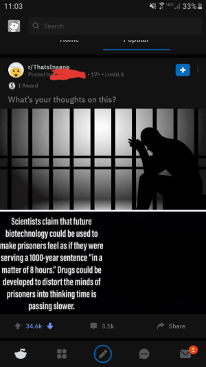 """Over 34 thousand redditors upvoting this painfully fake post: LIG  11:03  33%  Q Search  IIUIIC  r/ThatsInsane  Posted bya  - 17h i.redd.it  S 1 Award  What's your thoughts on this?  Scientists claim that future  biotechnology could be used to  make prisoners feel as if they were  serving a 1000-year sentence """"in a  matter of 8 hours."""" Drugs could be  developed to distort the minds of  prisoners into thinking time is  passing slower.  3.1k  Share  34.6k  1 Over 34 thousand redditors upvoting this painfully fake post"""