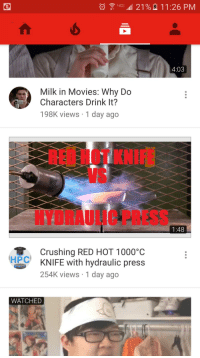 """<p>Red hot knife has peaked, SELL! via /r/MemeEconomy <a href=""""http://ift.tt/2hXlU49"""">http://ift.tt/2hXlU49</a></p>: LIG- 4111 21 %  11:26 PM  4:03  Milk in Movies: Why Do  Characters Drink It?  198K views 1 day ago  REI HOT KNI  VS  HYDRAULIC PRESS  1:48  Crushing RED HOT 1000°C  KNIFE with hydraulic press  254K views 1 day ago  HPC  WATCHED <p>Red hot knife has peaked, SELL! via /r/MemeEconomy <a href=""""http://ift.tt/2hXlU49"""">http://ift.tt/2hXlU49</a></p>"""