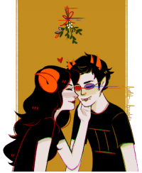 Shit, Target, and Tumblr: light-brights:  My HSGE gift for Emma!!! I hope you like it, and happy holidays!!! (And if it wasn't obvious Sollux is totally being a lil shit and is using his psionics to get some smooches under the mistletoe.)