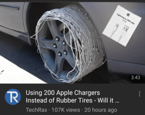 Apple, Chargers, and Lightning: Lightning to USB Cable  (1m)  3:43  Using 200 Apple Chargers  Instead of Rubber Tires - Will it ...  TR  TechRax 107K views 20 hours ago Absolute madlad