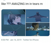 Iphone, Twitter, and Amazing: like ??? AMAZING im in tears rn  8:50 PM Jan 16, 2019 Twitter for iPhone 😭😨 #BTS #SAVE_VE #bts #jungkook