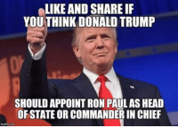 Ron Paul: LIKE AND SHARE IF  YOU THINK DONALD TRUMP  SHOULD APPOINT RON PAUL AS HEAD  OF STATE OR COMMANDERIN CHIEF