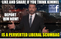 Facebook, Memes, and Patriotic: LIKE AND SHARE IFYOU THINK KIMMEL  NATION  IN  DISTRESS  like us on  facebook  DEPORT  HIM NOW!  IS A PERVERTED LIBERAL SCUMBAG Spread This Everywhere. Show Hollywood How You Feel Patriots!  Sean Hannity #SeanHannity   Follow Us ====>  Nation In Distress