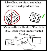 5demayo Not independence Day (it is actually on september 16th): Like Cinco de Mayo not being  Mexico's independence day.  SEP  It's actually the Battle of Puebla in  1862. Back when France wanted  Mexico.  GumME  no 5demayo Not independence Day (it is actually on september 16th)