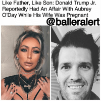"Donald Trump, Family, and Marriage: Like Father, Like Son: Donald Trump Jr.  Reportedly Had An Affair With Aubrey  O'Day While His Wife Was Pregnant  @balleralert Like Father, Like Son: Donald Trump Jr. Reportedly Had An Affair With Aubrey O'Day While His Wife Was Pregnant - blogged by @MsJennyb ⠀⠀⠀⠀⠀⠀⠀⠀⠀ ⠀⠀⠀⠀⠀⠀⠀⠀⠀ Extramarital affairs and divorce must run in the Trump family, as new reports reveal Donald Trump Jr. had been fooling around with someone other than his longtime wife, Vanessa. ⠀⠀⠀⠀⠀⠀⠀⠀⠀ ⠀⠀⠀⠀⠀⠀⠀⠀⠀ Back when Jr. was the ""adviser"" on his father's popular NBC show, the eldest of the Trump bunch fell for Danity Kane star, AubreyODay. ⠀⠀⠀⠀⠀⠀⠀⠀⠀ ⠀⠀⠀⠀⠀⠀⠀⠀⠀ At the time, Aubrey was a contestant on ""The Celebrity Apprentice,"" and Jr. had ""pursued her. It was him who chased her,"" a source told Page Six. ""He told her his marriage was already in the process of dissolving. ⠀⠀⠀⠀⠀⠀⠀⠀⠀ ⠀⠀⠀⠀⠀⠀⠀⠀⠀ By then, Jr. and his wife had already been together for about six years and were expecting their third child together. However, according to Page Six, the two were going nowhere fast in their already rocky relationship. ⠀⠀⠀⠀⠀⠀⠀⠀⠀ ⠀⠀⠀⠀⠀⠀⠀⠀⠀ ""I think his marriage to Vanessa was over long before Aubrey came along,"" the source claimed, meanwhile another source claimed ""that was the start of the downfall [of their marriage]. ⠀⠀⠀⠀⠀⠀⠀⠀⠀ ⠀⠀⠀⠀⠀⠀⠀⠀⠀ The news of Jr.'s relations with Aubrey comes on the heels of Vanessa's divorce filing. Several sources say their split was a long time coming, but it remains unclear what exactly tipped her over the edge."