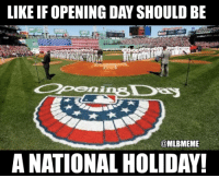 Memes, Mlb, and Day: LIKE IF OPENING DAY SHOULD BE  @MLBMEME  A NATIONAL HOLIDAY! Make this happen already!  Follow MLB Memes