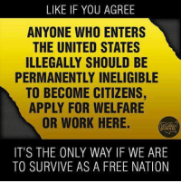 Memes, Work, and Free: LIKE IF YOU AGREE  ANYONE WHO ENTERS  THE UNITED STATES  ILLEGALLY SHOULD BE  PERMANENTLY INELIGIBLE  TO BECOME CITIZENS,  APPLY FOR WELFARE  OR WORK HERE.  SECURED  CORDERS  IT'S THE ONLY WAY IF WE ARE  TO SURVIVE AS A FREE NATION It Has To Be Done NOW!