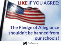 Like If You Agree: LIKE IF YOU AGREE:  The Pledge of Allegiance  shouldn't be banned from  our schools  FORAMERICA