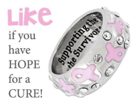 """Dank, Ups, and Survivor: Like  if you  have  HOPE  for a  CURE! Spread Breast Cancer Awareness with this Never Giving Up Pink Ribbon Crystal Ring. Inside reads: """"Supporting the Fighters, Admiring the Survivors, and Never Giving up."""" It's on Sale today and purchases fund research & care for women in need!  ★ORDER NOW★ http://po.st/j5y13D"""