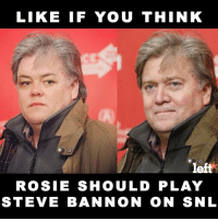 What do you think?: LIKE IF YOU THINK  left  ROSIE SHOULD PLAY  STEVE BANNON ON SNL What do you think?