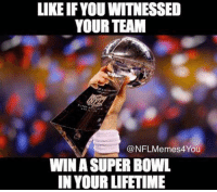 Nfl, Super Bowl, and Lifetime: LIKE IF YOU WITNESSED  YOUR TEAM  NFLMemes4You  WIN SUPER BOWL  IN YOUR LIFETIME