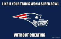 This should be interesting: LIKE IF YOUR TEAM'S WON A SUPER BOWL  WITHOUT CHEATING  @NFL MEMES This should be interesting