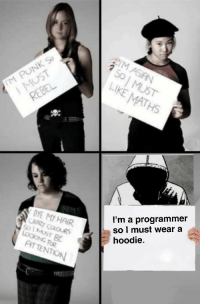 Crazy, True, and Hair: LIKE MATHS  I'm a programmer  so l must wear a  hoodie.  DYE MY HAIR  CRAZY COLOURS  LOOKING FOR  ATTENTION Sad but true