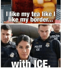 Love, Memes, and Police: like my tea likel  like my border...  OLICE  0%.  POLICE  ICE  CE  with ICE. Hahah love me some ICE
