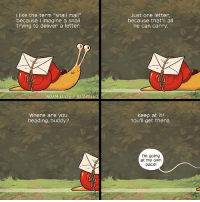 """Memes, Buzzfeed, and Mail: like the term """"snail mail""""  because imagine a snail  trying to deliver a letter.  ADAM ELLIS BUZZFEED  Where are you  heading, buddy?  Just one letter,  because that's all  he can carry  Keep at it!  You'll get there.  I'm going  at my own  pace! You can do it lil guy! (By @adamtots)"""