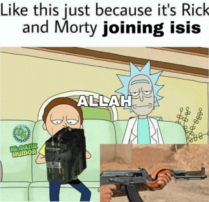 Rick and morty wouldn't do this I'm shitting: Like this just because it's Rick  and Morty joining isis  ALLAH  IGRDANK  HUMOR  CHARGE  WITH TAGGAN  MITH TAGGANT Rick and morty wouldn't do this I'm shitting