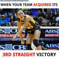 BOOM! 3rd straight victory! 💪 Talo na naman ang NU.: Like us: facebook.com/PSLandvieaguememes  WHEN YOUR TEAM  ACQUIRED  ITS  OMariArquiao  ABS  SPORTS  Solo CBN  ABS  3RD STRAIGHT  VICTORY BOOM! 3rd straight victory! 💪 Talo na naman ang NU.