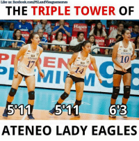 Eagle, Volleyball, and Filipino (Language): Like us: facebook.com/PSLandvleaguememes  THE TRIPLE TOWER  OF  apes  ATENEO  10  ATENEO  ATENEO  ATENEO LADY EAGLES AVERAGE HEIGHT: 6 FEET  Please like her page. Maddie Madayag facebook.com/MaddieMadayagFP