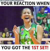 Volleyball, Filipino (Language), and Kim: Like us: facebook.com/PSLandvleaguememes  YOUR REACTION WHEN  YOU GOT THE  1ST SET! La Salle takes the first set! 25-22 #DLSUvsUST  Please like her page. Kim Dy facebook.com/KimKiannaDy