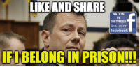 Facebook, Memes, and Patriotic: LIKEANDSHARE  NATION  IN  DISTRESS  like us on  facebook  FIBELONG IN PRISON!!! Peter Strzok Belongs In PRISON!!! RE-POST PATRIOTS!