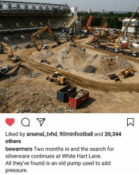 Memes, Pressure, and Savage: Liked by arsenalLtvhd, 90minfootball and 20,344  others  bewarmers Two months in and the search for  silverware continues at White Hart Lane  All they ve found is an old pump used to add  pressure I thought I was a savage but @bewarmers killed em with this 1 😱🔥😂😂😂😂😂 wehatetottenham FOYS benchwarmers savage trophyless