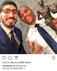 Basketball, Dude, and Enes Kanter: Liked by nba and 4,389 others  eneskanter11 No! No! No!  You Are The Real MVP...! Enes Kanter with probably the most petty caption of all time. This dude is pure 🚮.