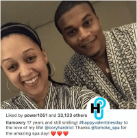Life, Love, and Memes: Liked by power1051 and 33,133 others  tiamowry 17 years and still smiling! #happyvalentinesday to  the love of my life! acoryhardrict Thanks @tomoko spa for  the amazing spa day! FlirtAlert TiaMowry x CoryHardrict have been going strong for 17 years 😩😍 Socialites what had your longest relationship been?