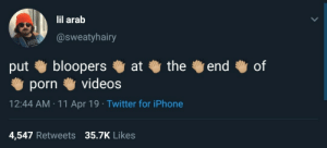 Iphone, Twitter, and Videos: lil arab  @sweatyhairy  bloopers  videos  the  end  of  at  put  porn  12:44 AM 11 Apr 19 Twitter for iPhone  4,547 Retweets 35.7K Likes I mean