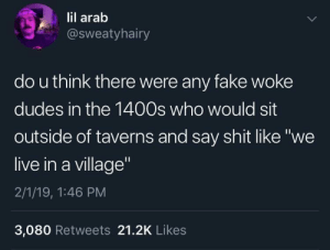 "Dank, Fake, and Memes: lil arab  @sweatyhairy  do u think there were any fake woke  dudes in the 1400s who would sit  outside of taverns and say shit like ""we  live in a village  2/1/19, 1:46 PM  3,080 Retweets 21.2K Likes Me🐀irl by RetroAcorn MORE MEMES"