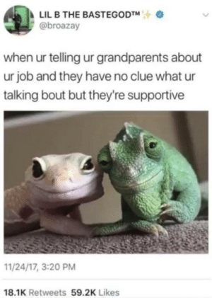 Lil B, Memes, and Job: LIL B THE BASTEGODTM  @broazay  when ur telling ur grandparents about  ur job and they have no clue what ur  talking bout but they're supportive  11/24/17, 3:20 PM  18.1K Retweets 59.2K Likes Found on r/memes