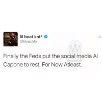 The streets are finally safe lilyachty souljaboy: lil boat kot  (alilyachty  Finally the Feds put the social media Al  Capone to rest. For Now Atleast. The streets are finally safe lilyachty souljaboy