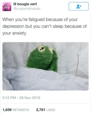 Anxiety, Depression, and Sleep: lil bougie vert  @nnaomishaharr  When you're fatigued because of your  depression but you can't sleep because of  your anxiety  5:12 PM 28 Nov 2016  1,639 RETWEETS  2,781 LIKES