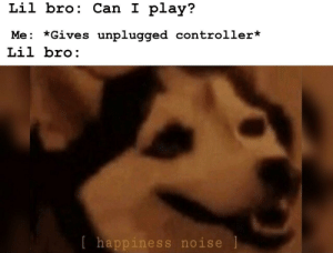 Sorry, Can, and One: Lil bro: Can I play?  Me: *Gives unplugged controller*  Lil bro:  lhappiness noise I'm sorry little one