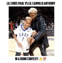 Chris Paul, Memes, and 🤖: LIL CHRIS PAUL VSLIL CARMELOANTHONY  IN ADUNKCONTEST! Cp3's son vs Melo's Son🔥😨 - 📽: @fiercehighlights Who WON?!? Comment Below👇🏻 - Follow (me) @overtimeplayz for more!