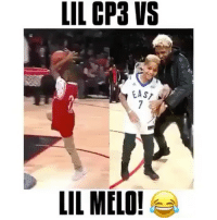 Basketball, Drake, and Hockey: LIL CP3 VS  EAST  LIL MELO! Who's the bigger baller? @takenankles FOLLOW @ATHLETICFILM FOR MORE! - Tags: nfl mlb nba nhl baseball basketball football hockey soccer tennis golf sports like follow dunk lol haha funny lebron ncaa highlights jcole drake trump america curry news health fitness gym