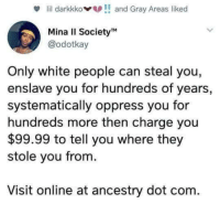 Blackpeopletwitter, White People, and Ancestry: lil darkkkoand Gray Areas liked  Mina II SocietyM  @odotkay  Only white people can steal you,  enslave you for hundreds of years,  systematically oppress you for  hundreds more then charge you  $99.99 to tell you where they  stole you from.  Visit online at ancestry dot com. <p>Woke (via /r/BlackPeopleTwitter)</p>