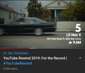 Bitch lasagna was a music video and it has 9.5M likes then why is it not in top 10 most liked music videos.: Lil Nas X  Old Town Road ft. Billy Ray Cyrus  It 9.6M  #1 ON TRENDING  YouTube Rewind 2019: For the Record    #YouTubeRewind  9.3M views Bitch lasagna was a music video and it has 9.5M likes then why is it not in top 10 most liked music videos.