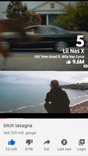 Ehm: Lil Nas X  Old Town Road ft. Billy Ray Cyrus  It 9.6M  bitch lasagna  Sett 229 mill. ganger  Last ned  819k  Del  9,6 mill.  Lagre Ehm