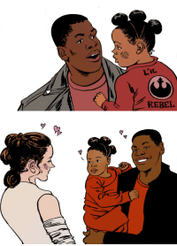 "Finn, Head, and Jedi: L'IL  REBEL <p><a href=""https://allronix.tumblr.com/post/139549333070/finnrey-peanuts-wake-up-finn"" class=""tumblr_blog"">allronix</a>:</p>  <blockquote><p><a class=""tumblr_blog"" href=""http://finnrey-peanuts.tumblr.com/post/139040131964"">finnrey-peanuts</a>:</p> <blockquote> <p><a class=""tumblr_blog"" href=""http://wake-up-finn.tumblr.com/post/139034136098"">wake-up-finn</a>:</p> <blockquote> <p><a class=""tumblr_blog"" href=""http://kissingcullens.tumblr.com/post/139034016314"">kissingcullens</a>:</p> <blockquote> <p><a class=""tumblr_blog"" href=""http://erindodge.tumblr.com/post/139033790263"">erindodge</a>:</p> <blockquote> <p><img alt=""thumb"" src=""http://i.imgur.com/MsK0B1Q.jpg""/></p> <p><b>Baby Love</b></p> <p>FinnRey Finn and Rey from Star Wars: The Force Awakens, hang out with their baby. The next generation of Jedi!</p> </blockquote> <p>[image:  Top image, Finn holds his young daughter, in the middle of saying something to her.  The child is wearing a red shirt that reads ""Li'l Rebel"" on the back, complete with the Symbol of the Resistance.  Her hair is put up into three buns atop her head.<br/><br/>Bottom image:  Rey, coming in from the left of the frame, looks at Finn and their daughter, who both smile welcomingly at her, little hearts above all their heads.]</p> </blockquote> <p>OH MAH GAWD THIS IS EVERYTHING IVE DREAMED OF! LOOK AT THE BABY'S POOFS! To </p> </blockquote> <p>She's their little baby Rey 😭😭😭😭😭😭😭😭</p> </blockquote>  <p>How adorable</p></blockquote>"