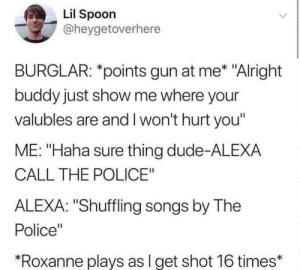 "Alexa: Lil Spoon  @heygetoverhere  BURGLAR: *points gun at me* ""Alright  buddy just show me where your  valubles are and I won't hurt you'  ME: ""Haha sure thing dude-ALEXA  CALL THE POLICE""  ALEXA: ""Shuffling songs by The  Police""  *Roxanne plays as l get shot 16 times* Alexa"