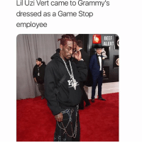 Beef, Grammys, and Memes: Lil  Uzi  Vert  came to  Grammy's  dressed as a Game Stop  employee  BEEF  ALERT WHOSE MANS IS THIS? 🤔